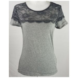 H&M Shades of Grey Lace Short Sleeve Tee